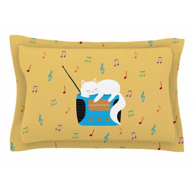 Cristina Bianco Design Sleeping Cat - Vintage Radio Illustration Sham Size: King