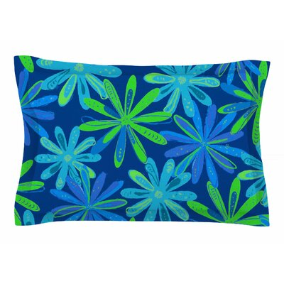 Cristina Bianco Design Floral - Blue & Green Illustration Sham Size: Queen