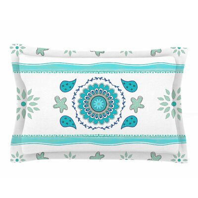 Cristina Bianco Design Blue Mandala Design Painting Sham Size: Queen