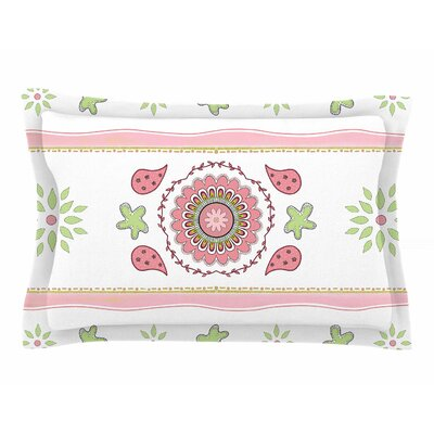 Cristina Bianco Design Rose & Green Mandala Design Painting Sham Size: Queen