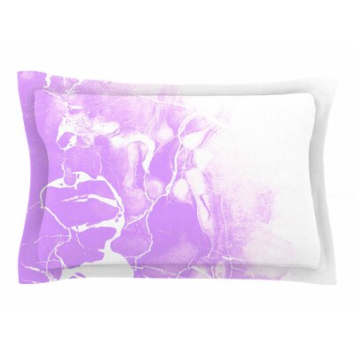 Cafelab Purple Marble with White Illustration Sham Size: Queen