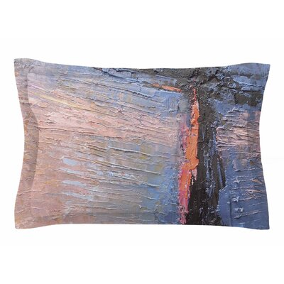 Carol Schiff Coral and Blue Sham Size: King