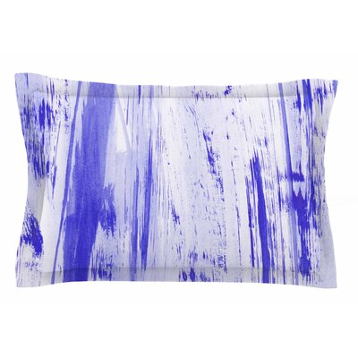Danii Pollehn Indigo Stripes Watercolor Sham Size: King