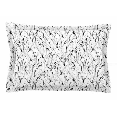 Danii Pollehn Black & White Palm Tree Illustration Sham Size: 20 H x 40 W x 0.25 D