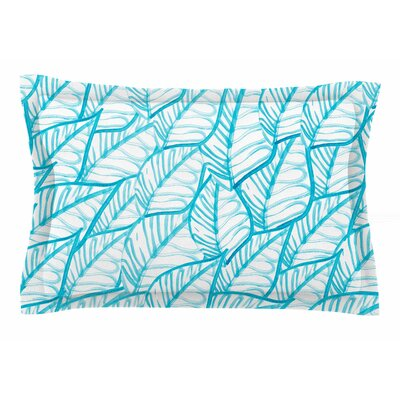 Danii Pollehn Blue Leaves Illustration Sham Size: Queen