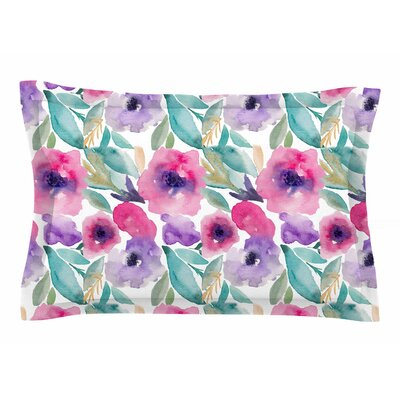 Li Zamperini Floralia Watercolor Sham Size: King