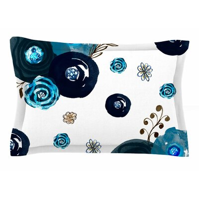 Li Zamperini Just Blue Floral Watercolor Sham Size: Queen