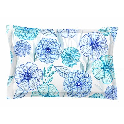 Julia Grifol Sweet Blue Garden Watercolor Sham Size: Queen