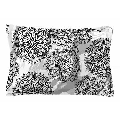 Julia Grifol Flowers in Gray Vector Sham Size: Queen