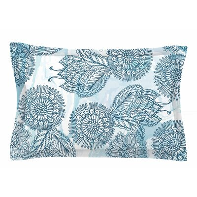 Julia Grifol 'Garden in Blue' Floral Vector Sham Size: Queen