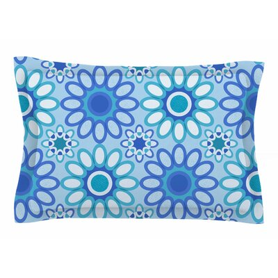 Julia Grifol 'Blue Flowers Tile' Vector Sham Size: Queen