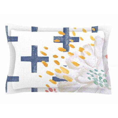 Jennifer Rizzo Bright and Pretty Floral Sham Size: King, Color: Navy/Blue/White
