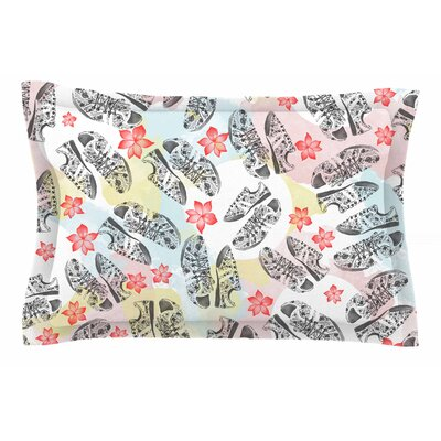 Mmartabc Sports Shoes Floral Illustration Sham Size: 20 H x 30 W x 1 D