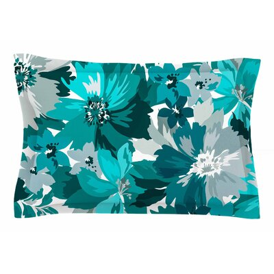 Mmartabc Turquoise Blossoms Illustration Sham Size: Queen