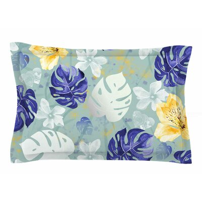 Mmartabc Leaves Monstera and Orchids Digital Sham Size: King