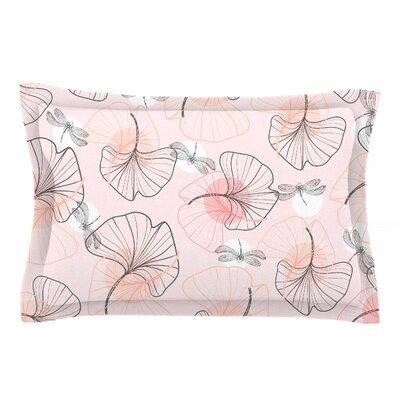 Mmartabc Pattern Flowers and Dragonflies Illustration Sham Size: Queen