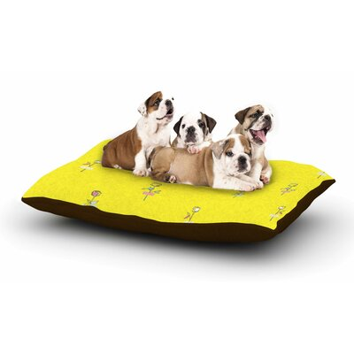 MaJoBV Rosewall Floral Dog Pillow with Fleece Cozy Top Size: Small (40 W x 30 D x 8 H), Color: Yellow