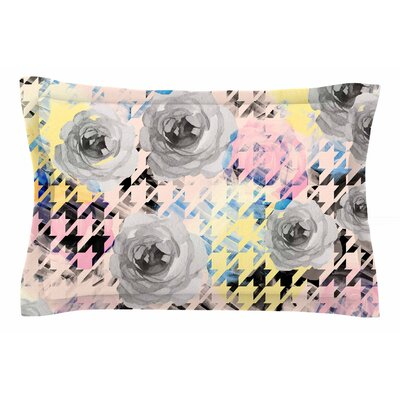 Mmartabc Houndstooth and Flowers Illustration Sham Size: 20 H x 30 W x 1 D