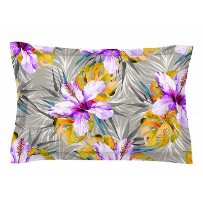 Mmartabc Tropical Flowery Illustration Sham Size: Queen