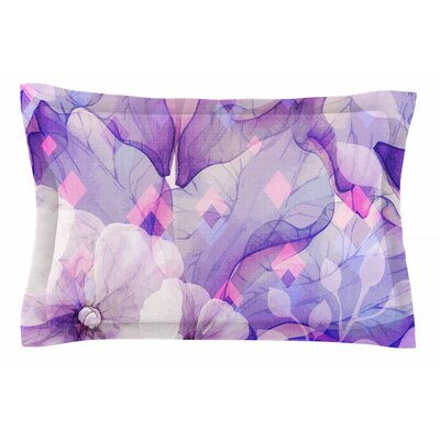 Mmartabc Rhombuses and Purple Leaves Illustration Sham Size: Queen