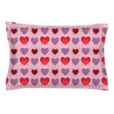 Mydeas Fancy Scribbled Hearts Vector Sham Size: Queen