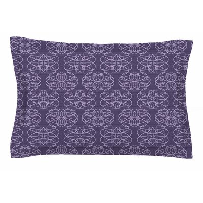 Mydeas Purple Scroll Damask Vector Sham Size: Queen