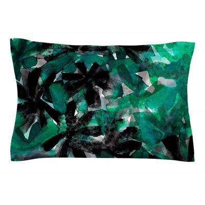 Ebi Emporium Snowy Stars 5, Green Painting Sham Size: Queen