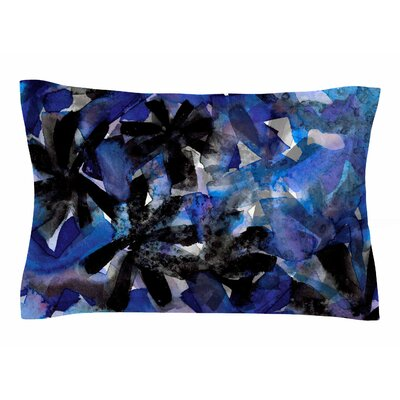 Ebi Emporium Snowy Stars 4, Blue Painting Sham Size: 20 H x 40 W x 0.25 D