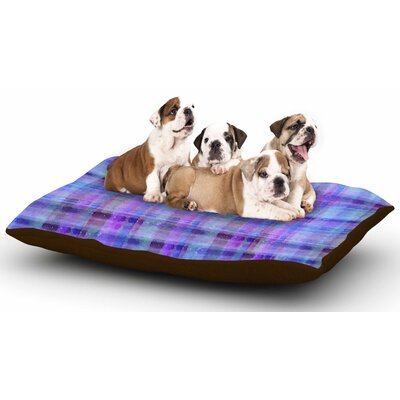 Carolyn Greifeld Watercolor Blue Plaid Dog Pillow with Fleece Cozy Top