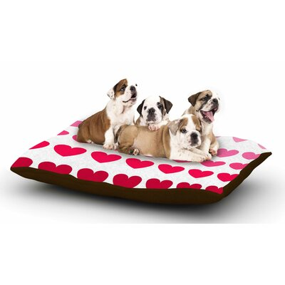 NL Designs Pink Hearts Love Dog Pillow with Fleece Cozy Top