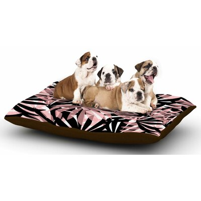Amy Reber Black and Pink Palms Leaves Dog Pillow with Fleece Cozy Top