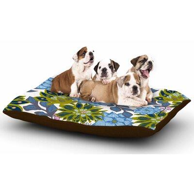 Amy Reber Blue Dahlias Floral Dog Pillow with Fleece Cozy Top