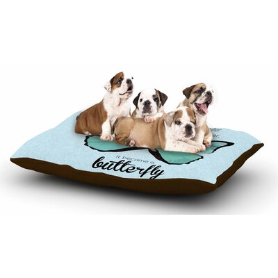 NL Designs Blue Butterfly Quote Dog Pillow with Fleece Cozy Top