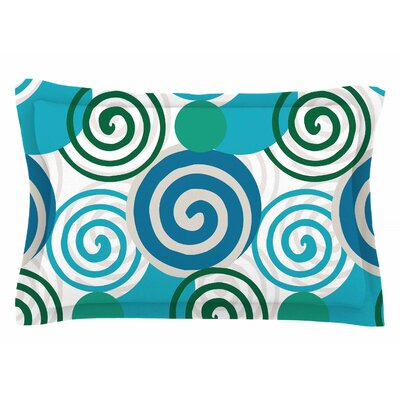 Patternmuse Dynamic Swirls Teal Digital Sham Size: Queen