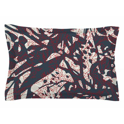 Patternmuse Inked Floral Latte Illustration Sham Size: Queen
