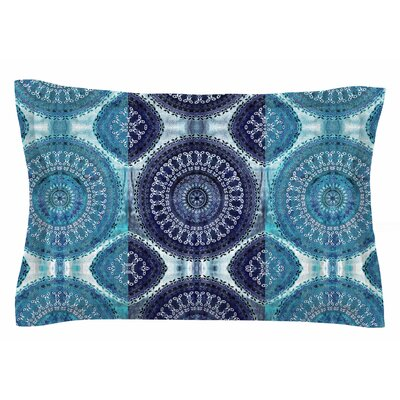 Nina May Blue Mandala Stripe Digital Sham Size: Queen