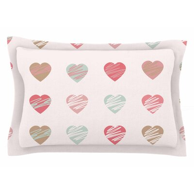 Afe Images Pastel Hearts Illustration Sham Size: Queen