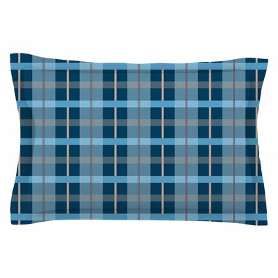 Afe Images Blue Plaid Illustration Sham Size: Queen
