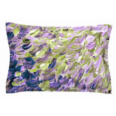 Ebi Emporium Frosted Feathers Painting Sham Size: King, Color: Purple/Lime