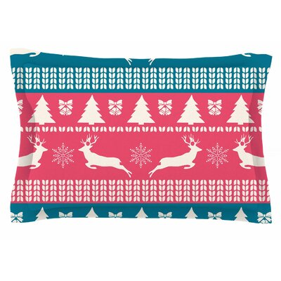 Famenxt Christmas Blue Red Illustration Sham Size: Queen