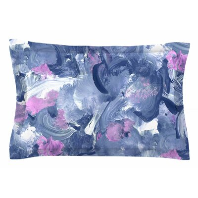 Danii Pollehn Swirly Blue Painting Sham Size: Queen