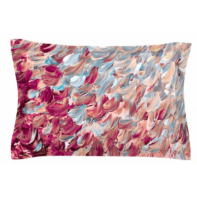 Ebi Emporium Frosted Feathers Painting Sham Size: King, Color: Aqua/Red/Blue