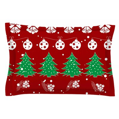 Famenxt Christmas Vibes Red Illustration Sham Size: King