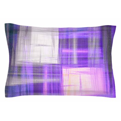 Ebi Emporium Tartan Crosshatch, Purple Painting Sham Size: Queen