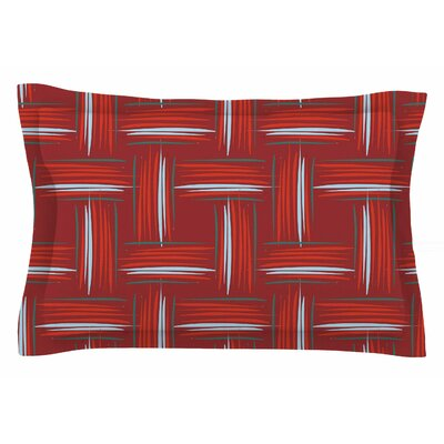 Empire Ruhl Red and Rust Crosshatch Digital Sham Size: Queen