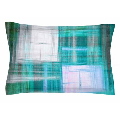 Ebi Emporium Tartan Crosshatch 3, Teal Painting Sham Size: Queen