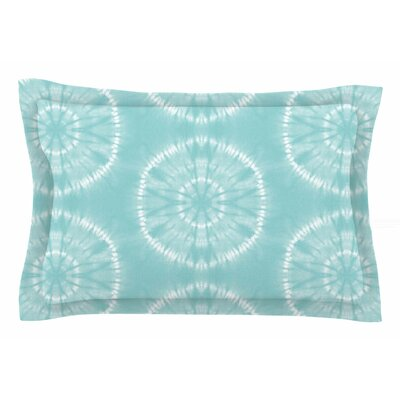 Jacqueline Milton Shibori Circles Mixed Media Sham Size: Queen, Color: Aqua/Teal/Pastel