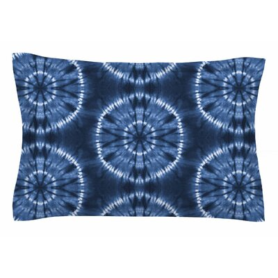 Jacqueline Milton 'Shibori Circles' Mixed Media Sham Size: Queen, Color: Indigo/Blue