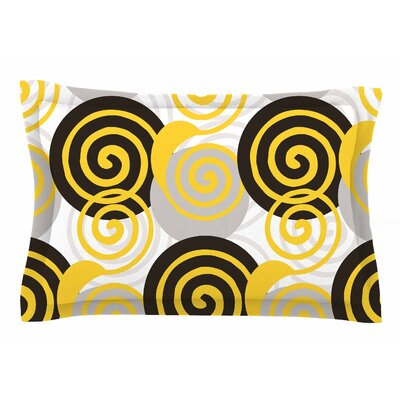 Patternmuse Dynamic Swirls Yellow Digital Sham Size: King