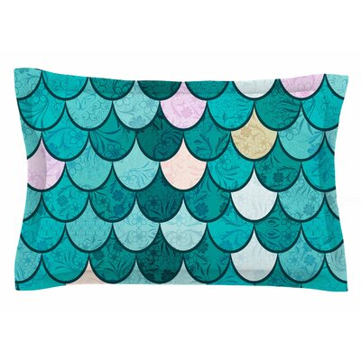 Famenxt Mermaid Fish Scales Nautical Illustration Sham Size: Queen